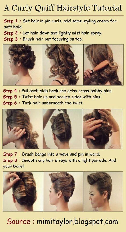 Diy Stylish Curly Quiff Hairstyle Alldaychic Hair Styles Hair Tutorial Quiff Hairstyles