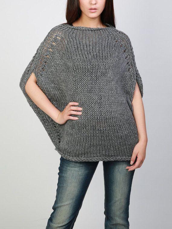 Hand knitted woman oversize drop shoulder dark grey sweater Eco ...