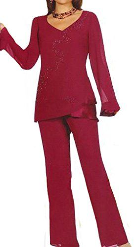 Women Mother of the Bride Pant Suits Long Sleeve Chiffon Sequins Two Piece Mother Groom Dresses 16 US Burgundy * You can find out more details at the link of the image.