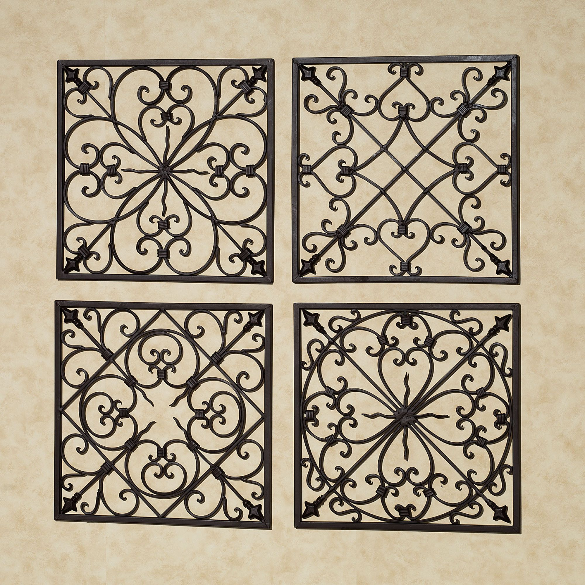 Wrought Iron Wall Grille Lachandra Square Wall Grille Set Antique Rust Set Of Four  Home