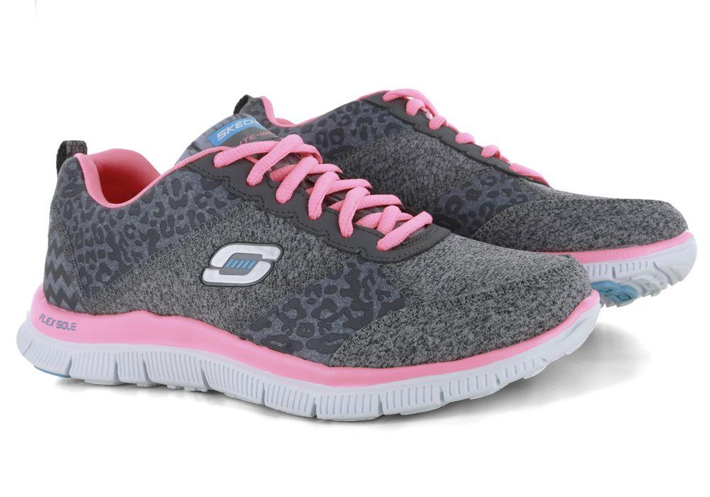 Womens Skechers Sport Flex Appeal Tribeca Gray/Pink