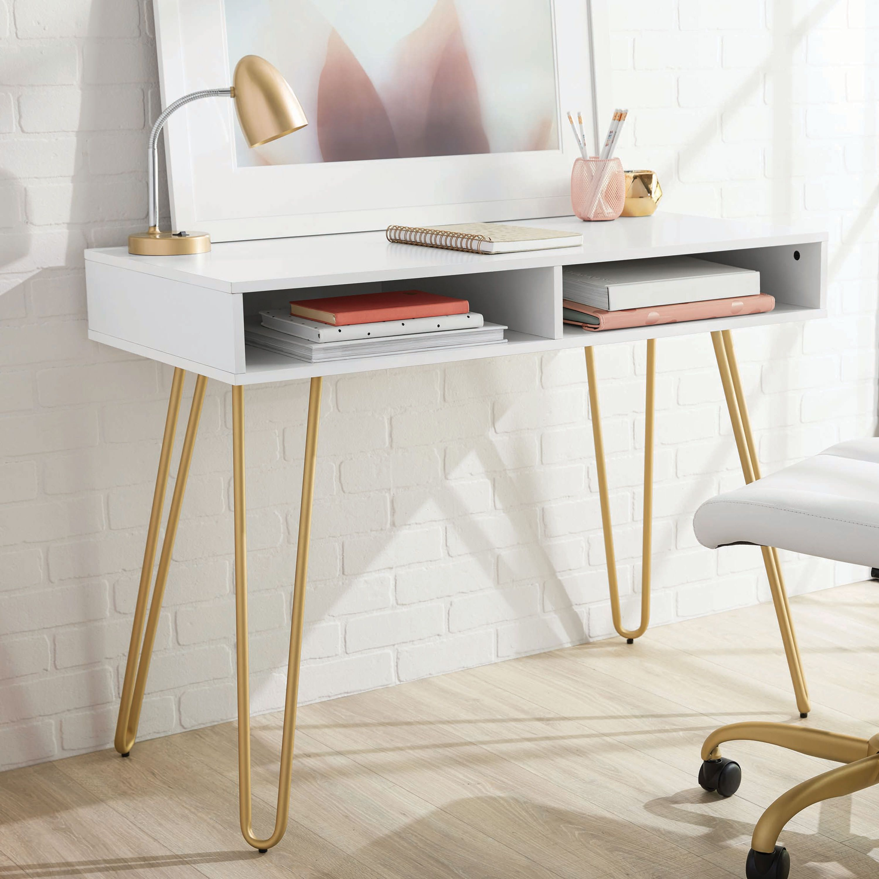 Mainstays Hairpin Writing Desk Multiple Finishes Walmart Com In 2020 Desks For Small Spaces Bedroom Desk Cheap Office Furniture