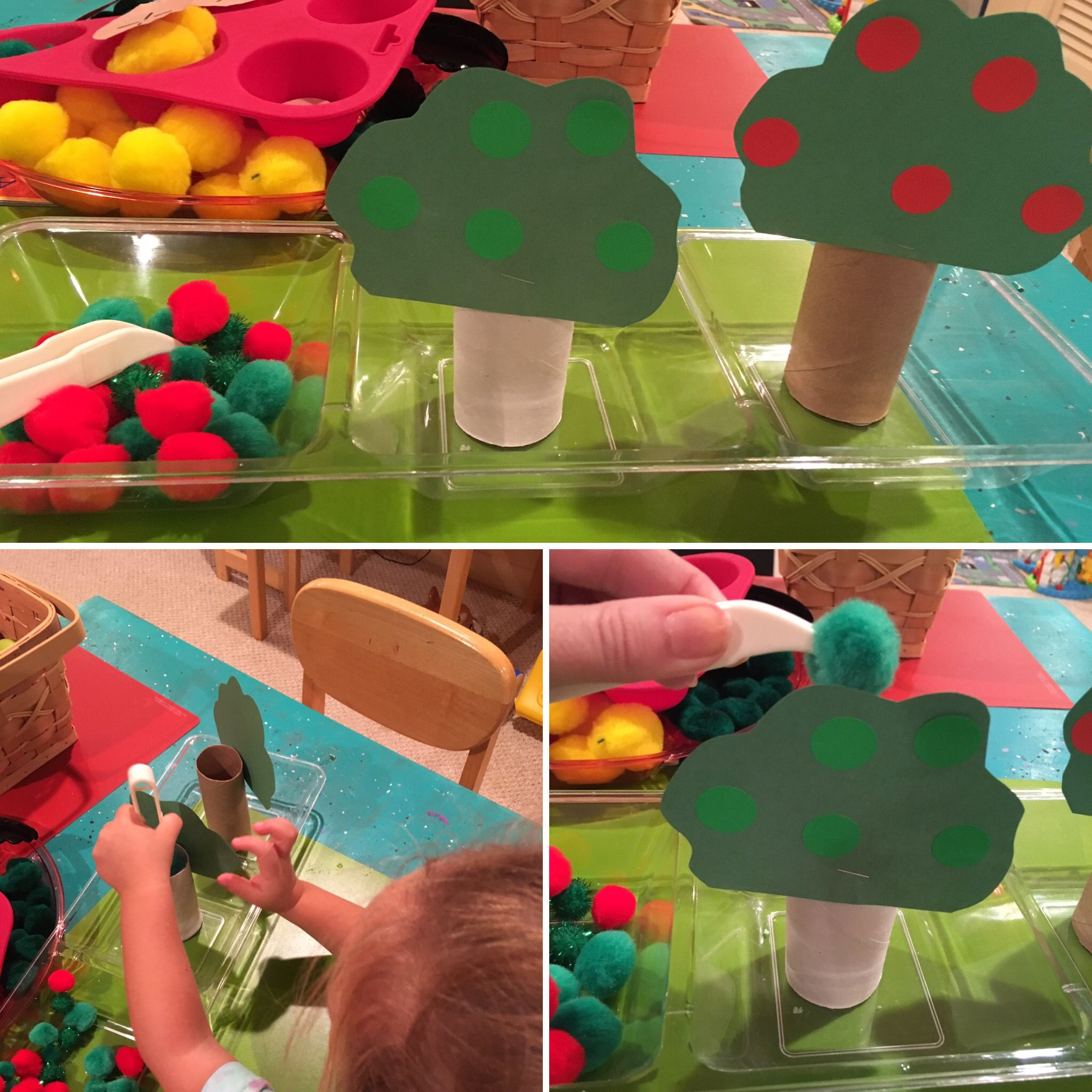 Apple theme, color sort, fine motor pinching tweezers skills ...