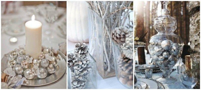 Invitaciones de boda e ideas para decorar una boda blanca y plata boda pinterest bolas de - Decoraciones en color plata ...