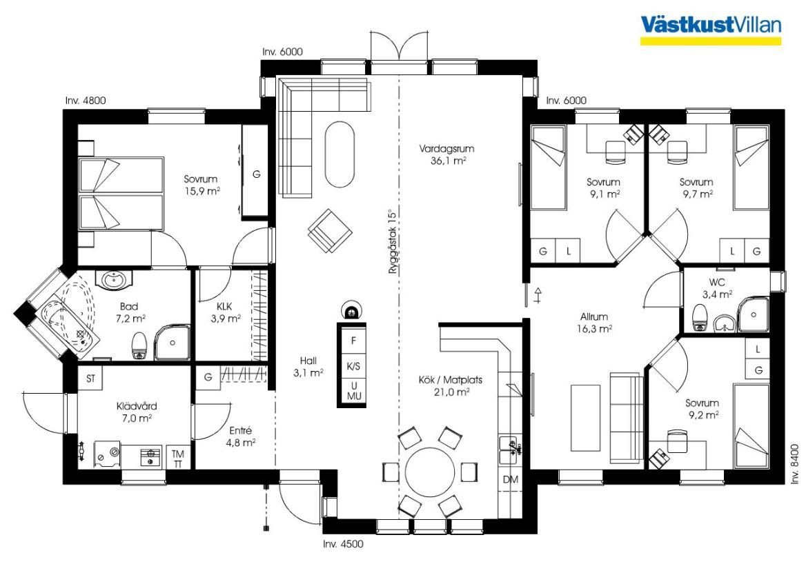 Schwedenhaus eingeschossig skandihaus 155 grundriss for Modernes haus eingeschossig