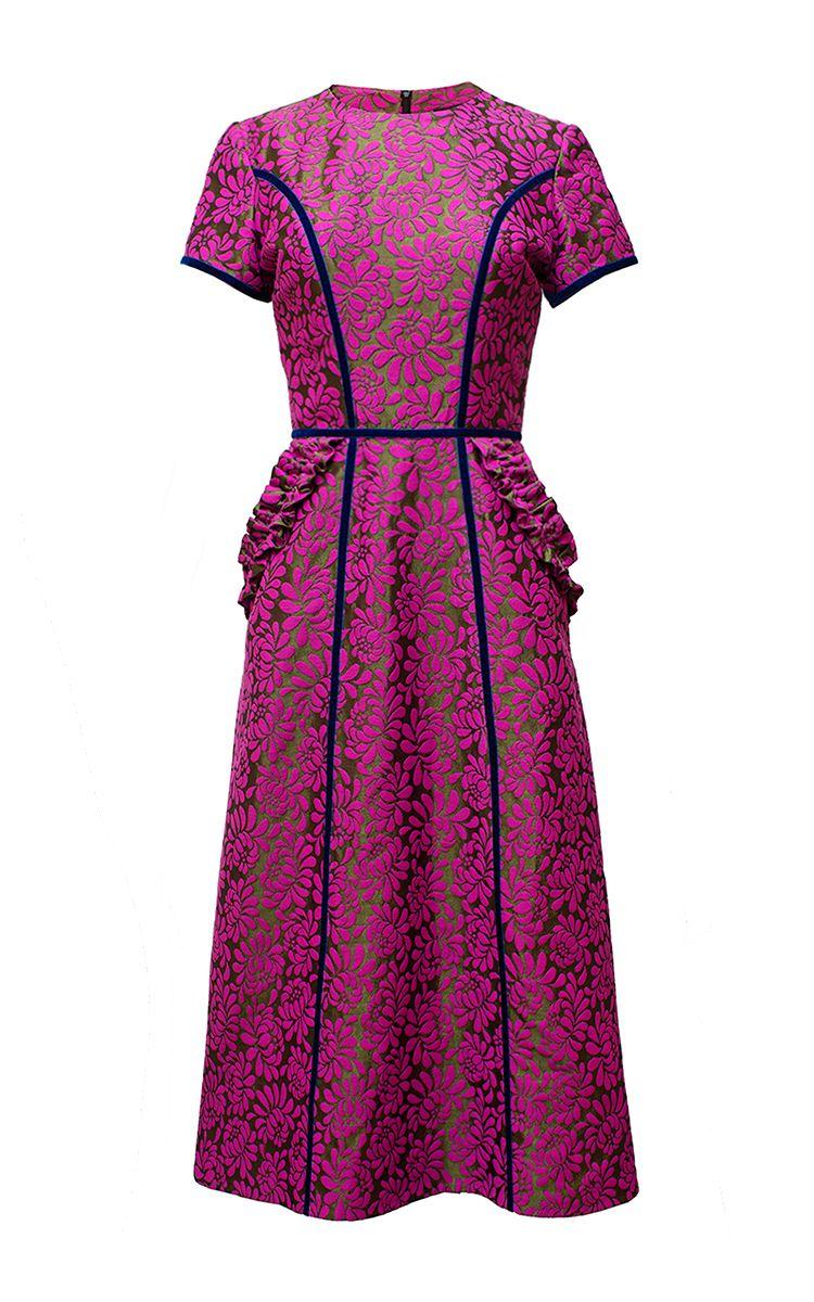 A Line Midi Floral Lace Dress by DIANA KVARIANI for Preorder on Moda  Operandi 07da28145d