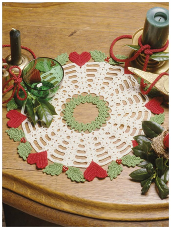 New Hearts N Holly Doily Crochet Pattern Tiny Red Beads Add The