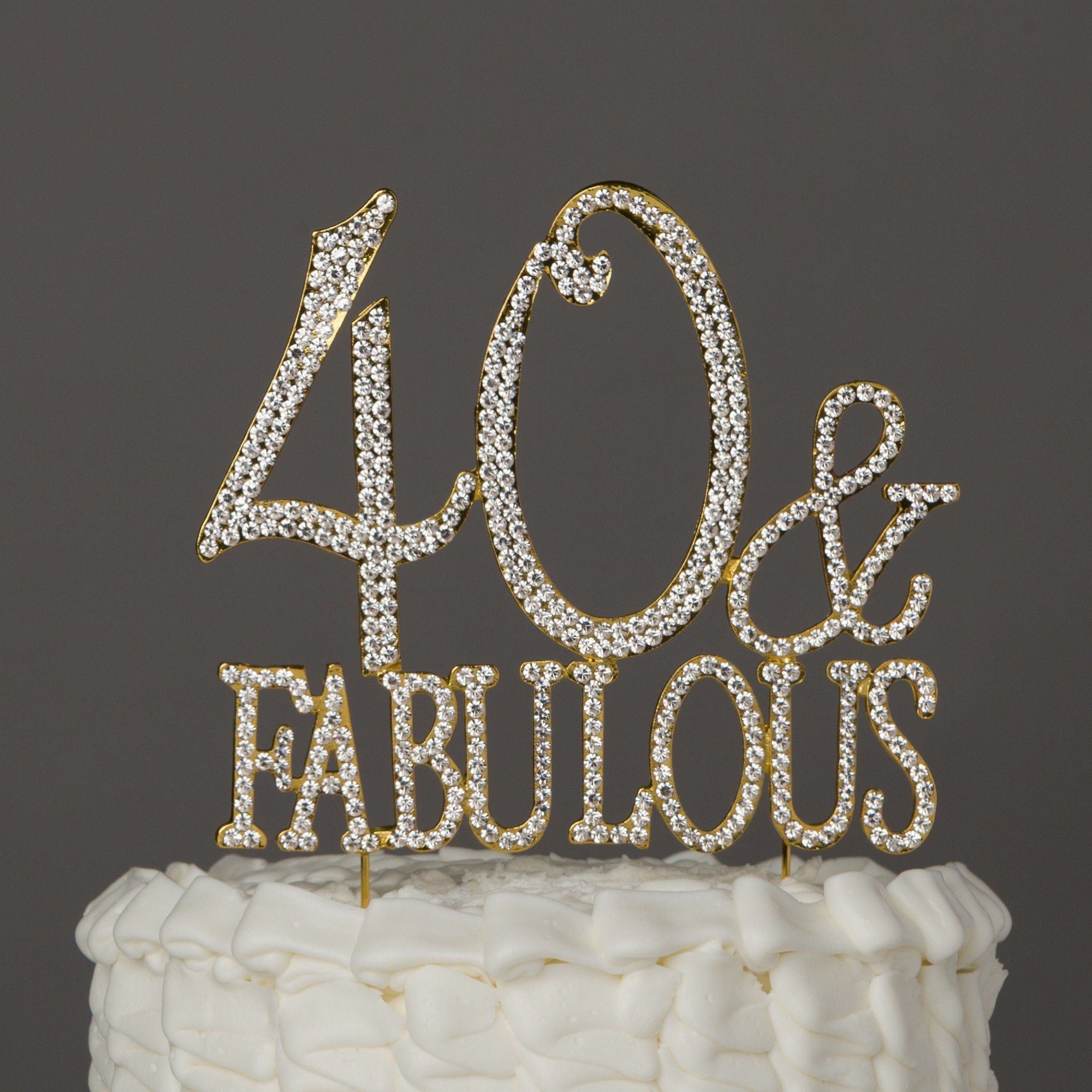 40 Fabulous Cake Topper Gold 40 Birthday Decorations Cake And