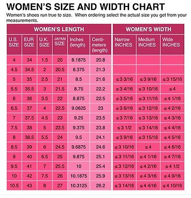 Womens shoe size conversion chart us uk european and japanese width length also   europe clothing table anglophile rh pinterest