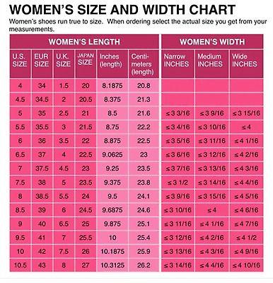 Womens Shoe Size Conversion Chart Us Uk European And Japanese