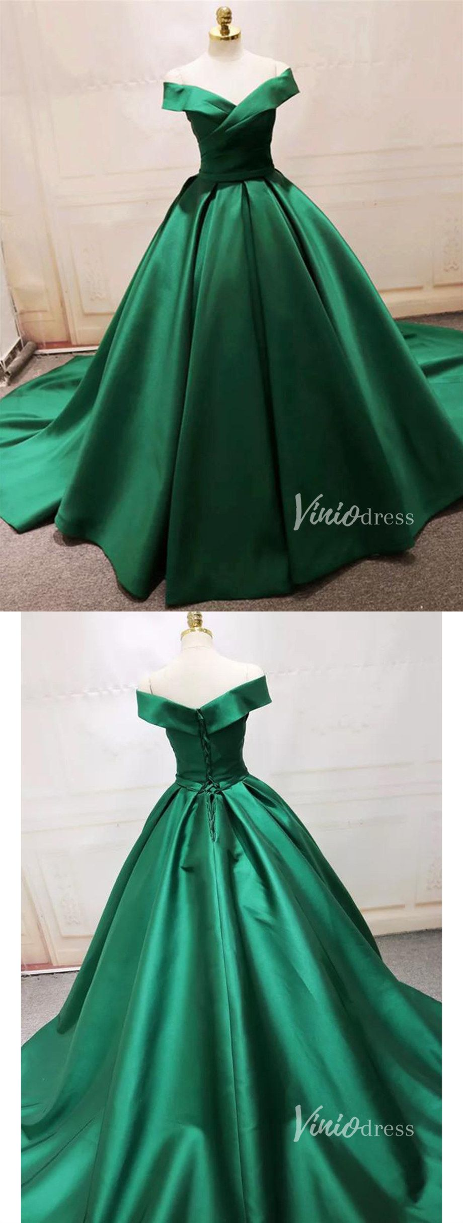 Simple elegant emerald green prom dress with train.