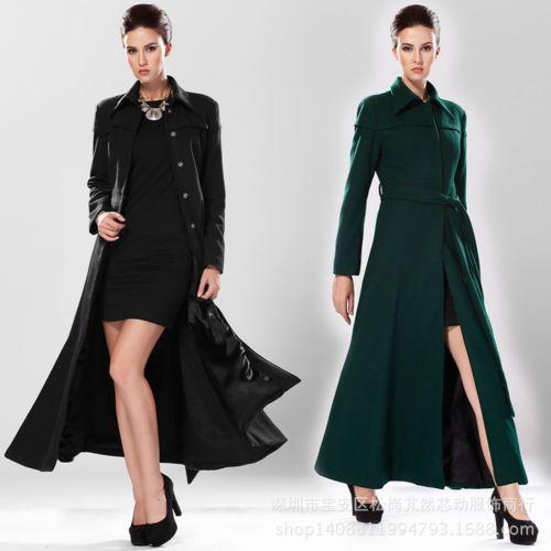 Fashion-Lady-Super-Long-Trench-Coat-Woolen-Blend-overcoat-Womens-Windbreaker