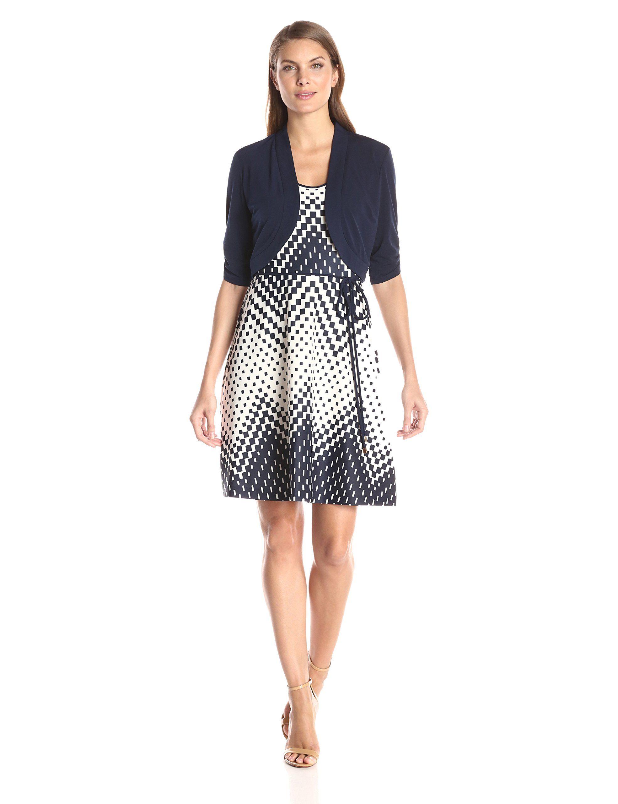 fb3fb00b843 AMAZON ---- Sandra Darren Women s 2 Pc Elbow Sleeve Knit JKT Dress -