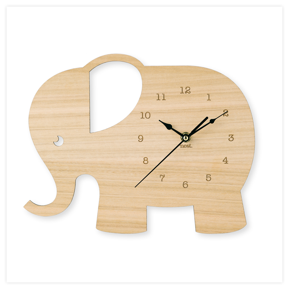 Laser de elefante cortado Relógio de madeira