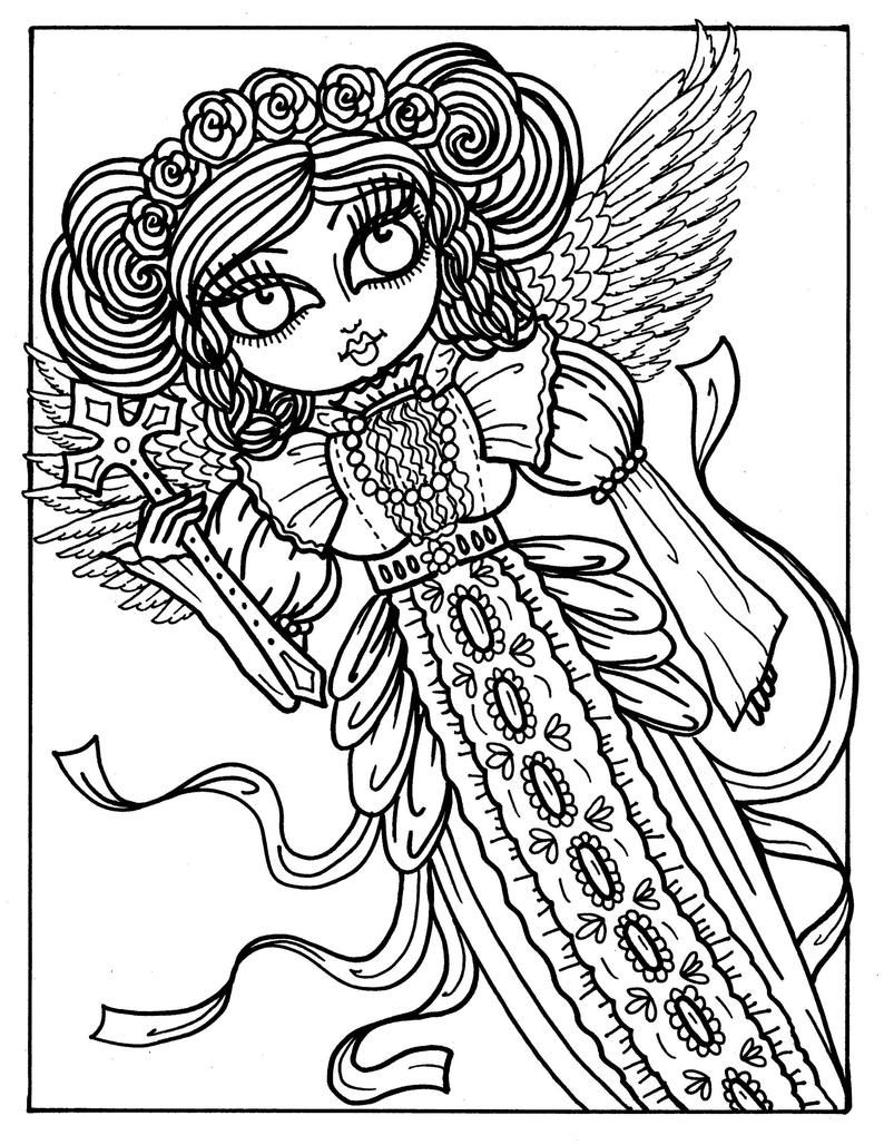 5 Pages Gothic Angels To Color Coloring Book Digital Etsy Gothic Angel Angel Coloring Pages Love Coloring Pages