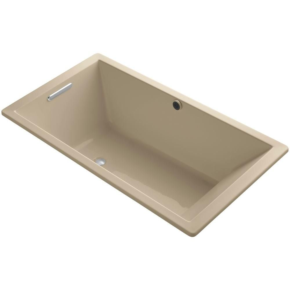 KOHLER Underscore 5.5 ft. Reversible Drain Soaking Tub in Mexican Sand with Bask Heated Surface