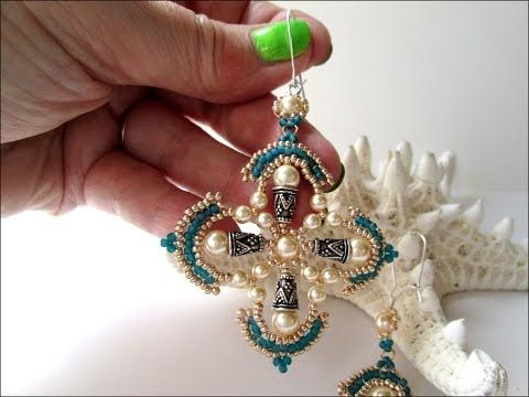 Revised Beaded Gothic Cross Earring Tutorial - YouTube - flot i grønt-søv-hvid - skal laves