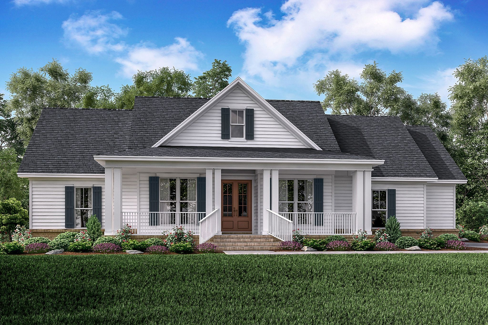 Lovely This Classic Country Farmhouse Plan Has Large Covered Porches On The Front  And Rear Of The Home. The Three Bedroom And Two And A Half Bath House Plan  Has A ... Good Looking