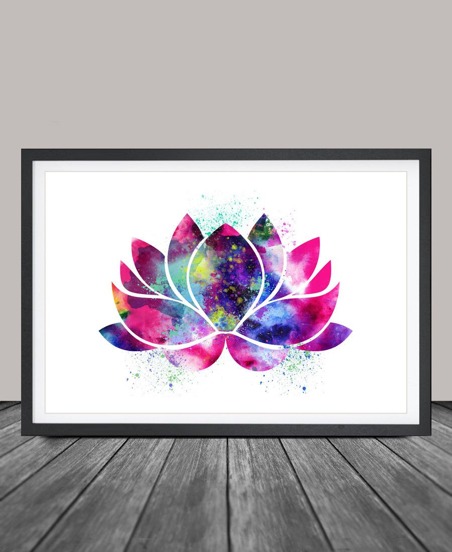 Lotus Flower Art Yoga Artwork Lotus Flower Decor Watercolor