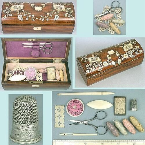 Antique Rosewood and Mother of Pearl Child's Sewing Box with Thimble, Threads and Tools; Circa 1870