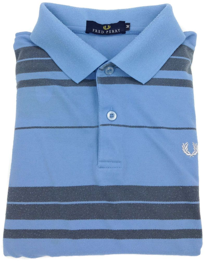FRED PERRY Polo Shirt Mens Size Medium Short Sleeve Golf Blue Knit s/s Men Sz M #FredPerry #PoloRugby