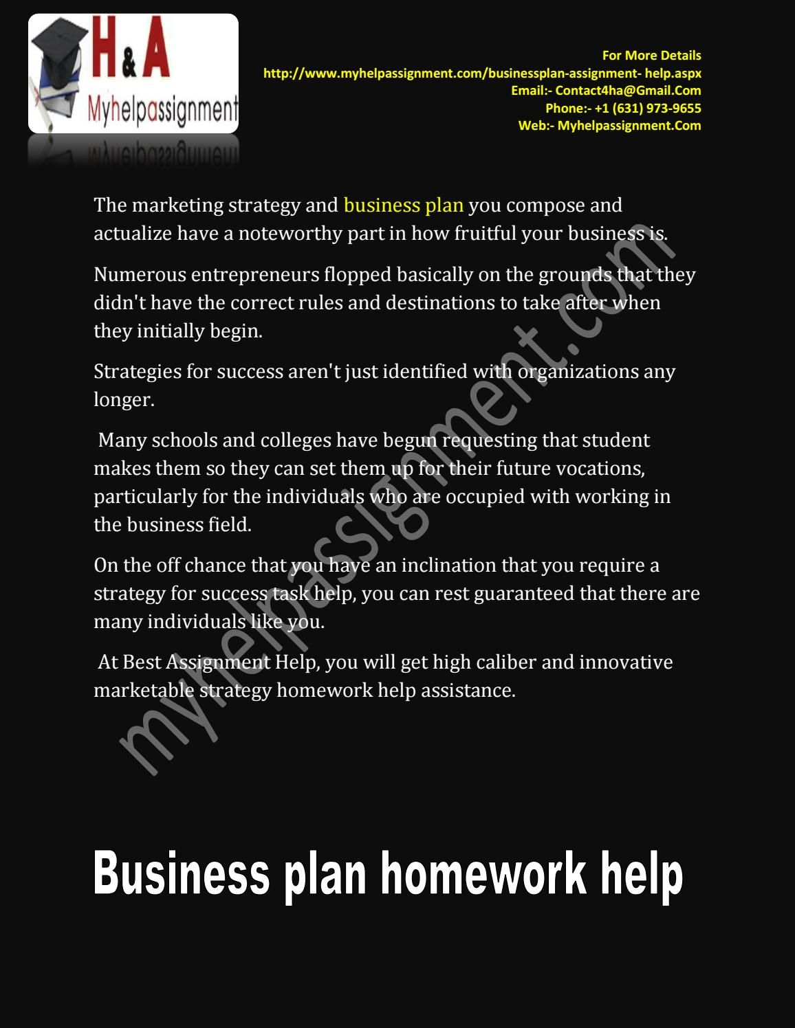 Homework help business plan