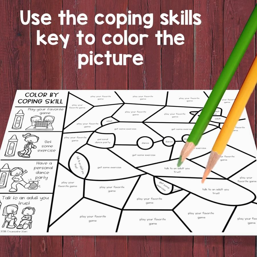 Coping Skills Color By Code Calming Strategies Activity For School Counseling Coping Skills List Coping Skills Social Emotional Skills