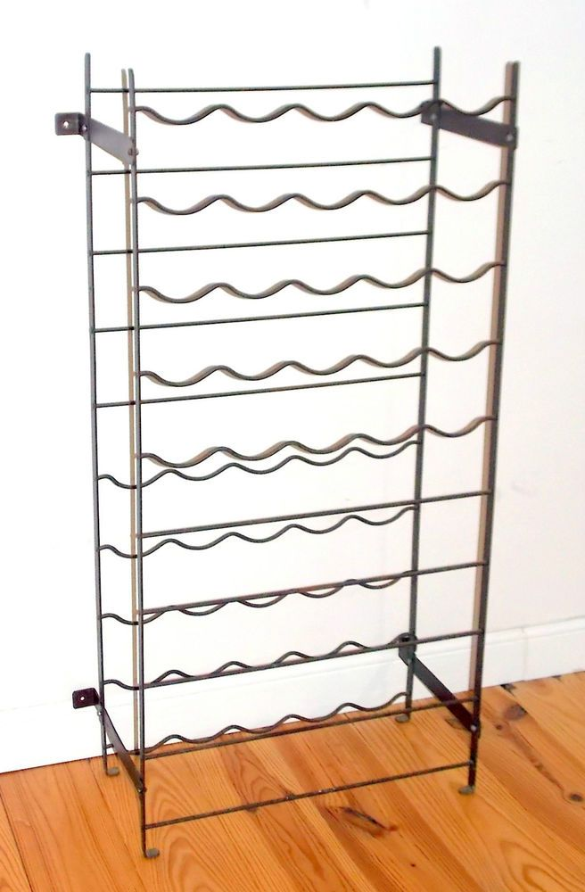 Vintage French Country Kitchen Industrial Look Metal Wine Rack