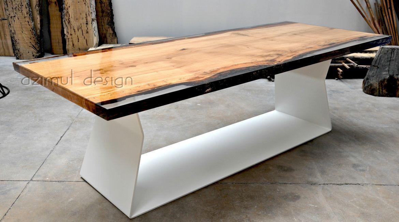 Tavolo in legno di rovere e resina trasparente azimut resine essenze forme e dimensioni su - Tavoli in legno e resina ...