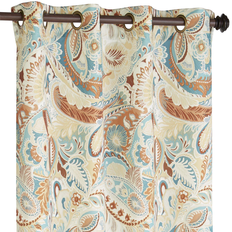 Multi Colored Vibrant Paisley Grommet Curtain Spice 108