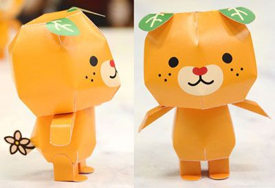 Papercraft imprimible y recortable de un oso naranja. Manualidades a Raudales.
