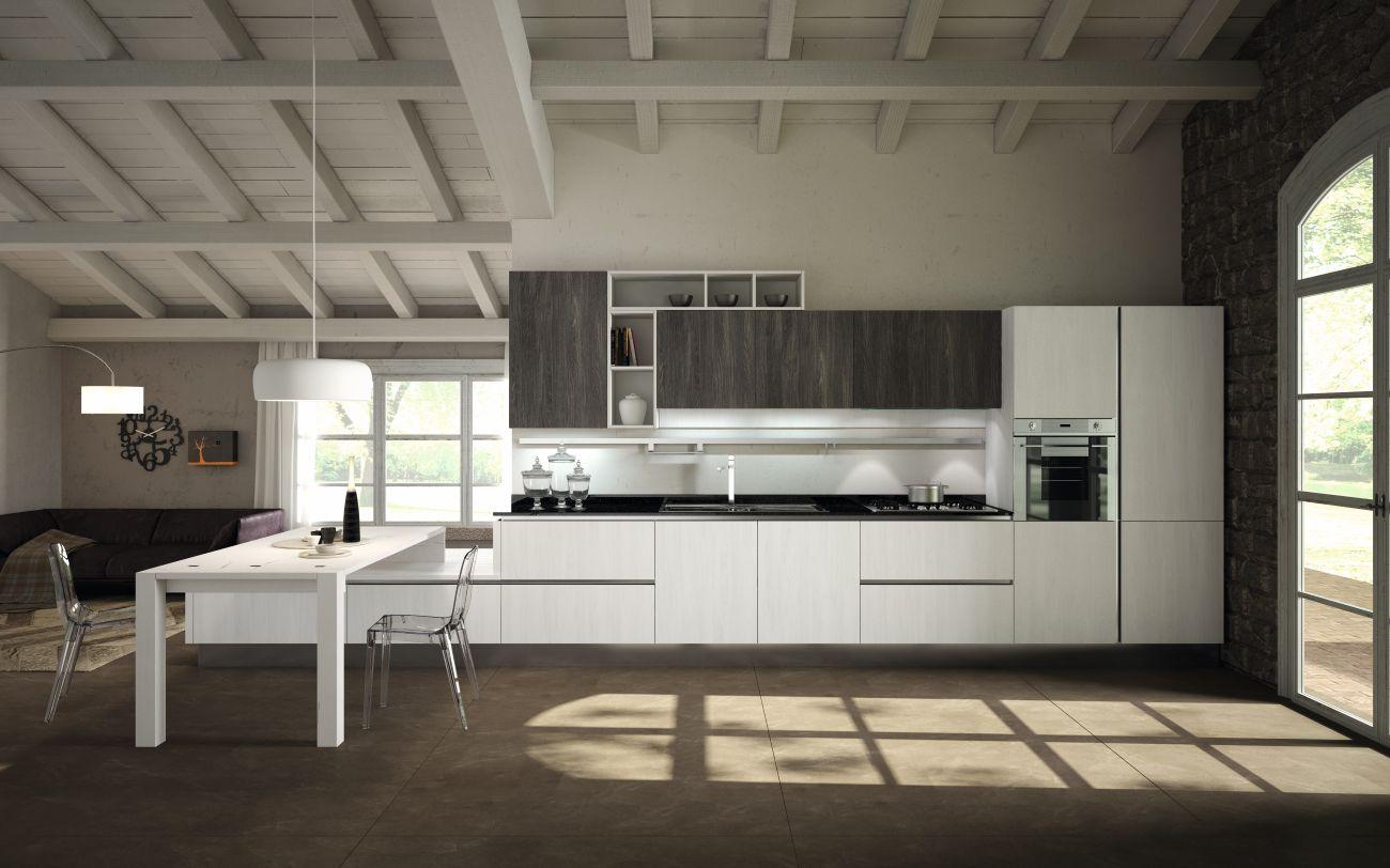 Cocina blanca, detalles negros y marrones - David Moreno. David ...