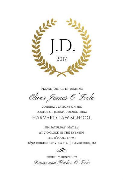 gold foil formal wreath law school graduation invitation