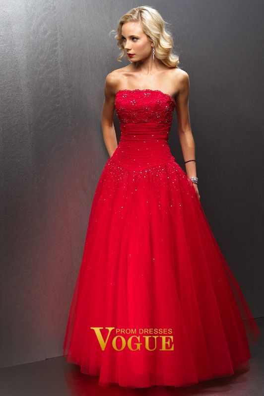 f22435341c3a Strapless A Line Floor Length Chiffon Tulle Red Prom Dresses  3 ...