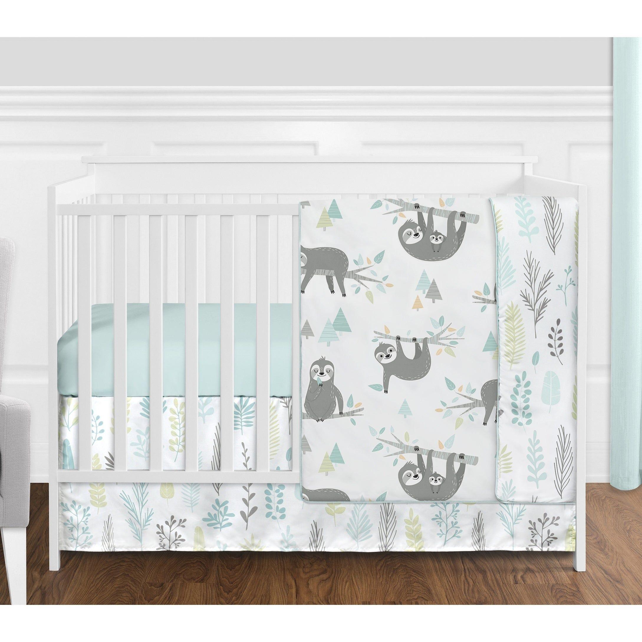 Sweet Jojo Designs Blue Grey Jungle Sloth Leaf Unisex 4pc Nursery