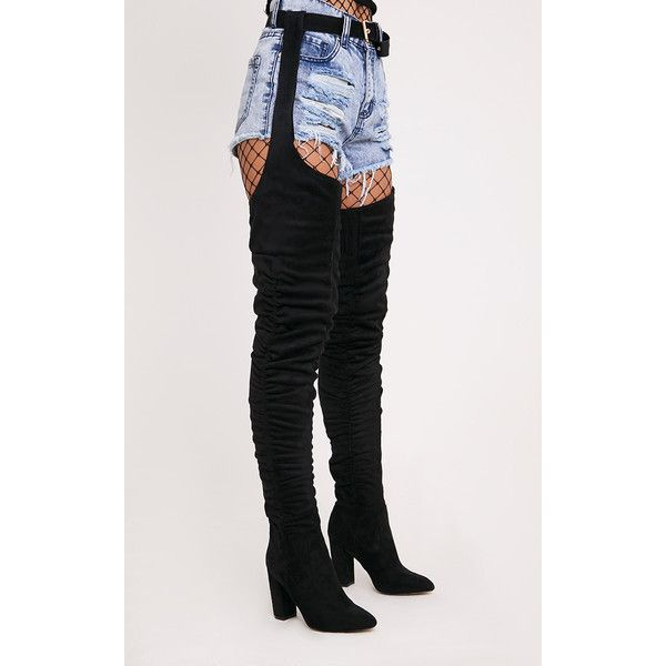 2136a31f91626e Beksie Black Belted Thigh High Boots ( 69) ❤ liked on Polyvore featuring  shoes