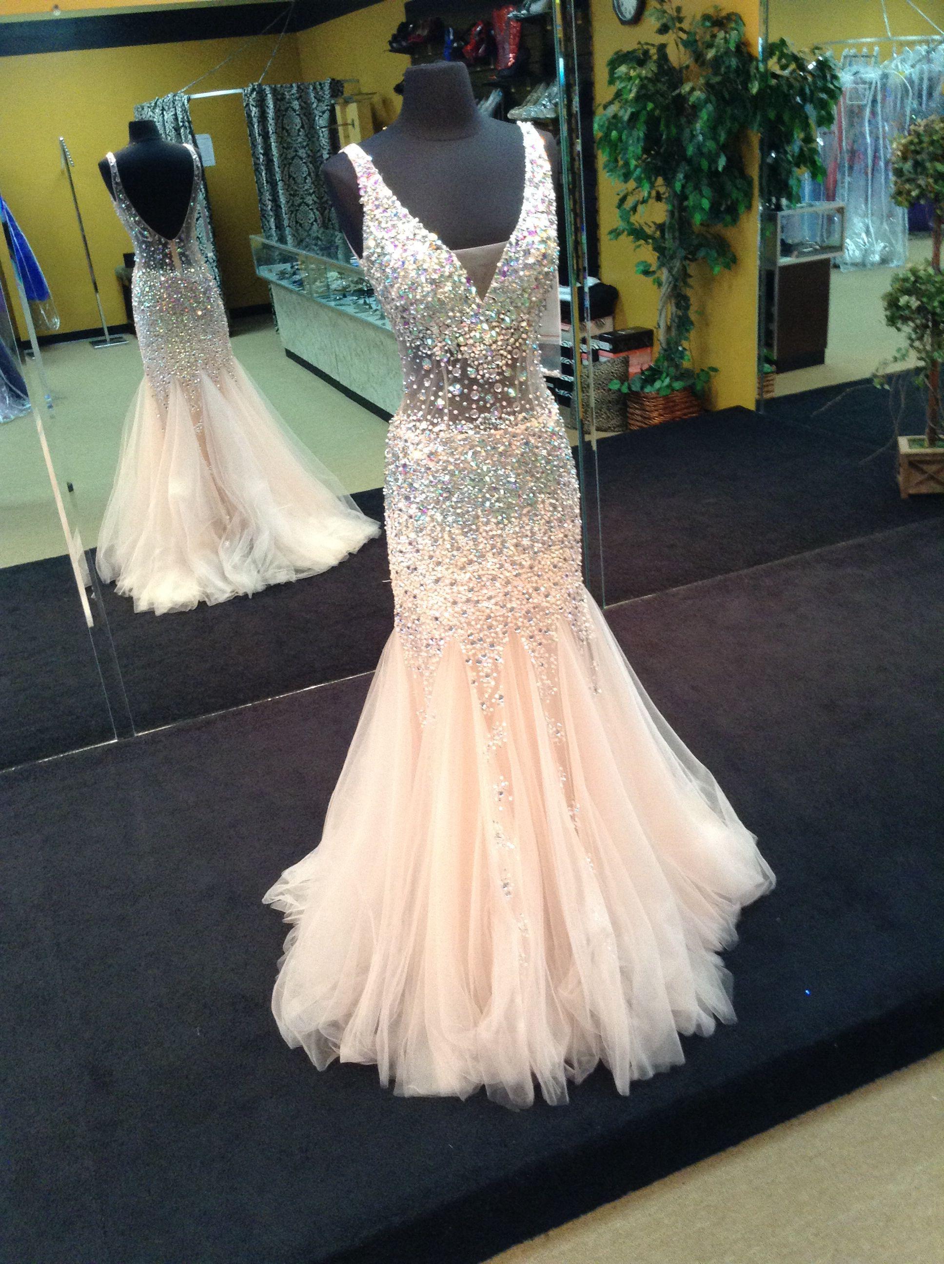 Jovani fashions light peach size prom dress prom