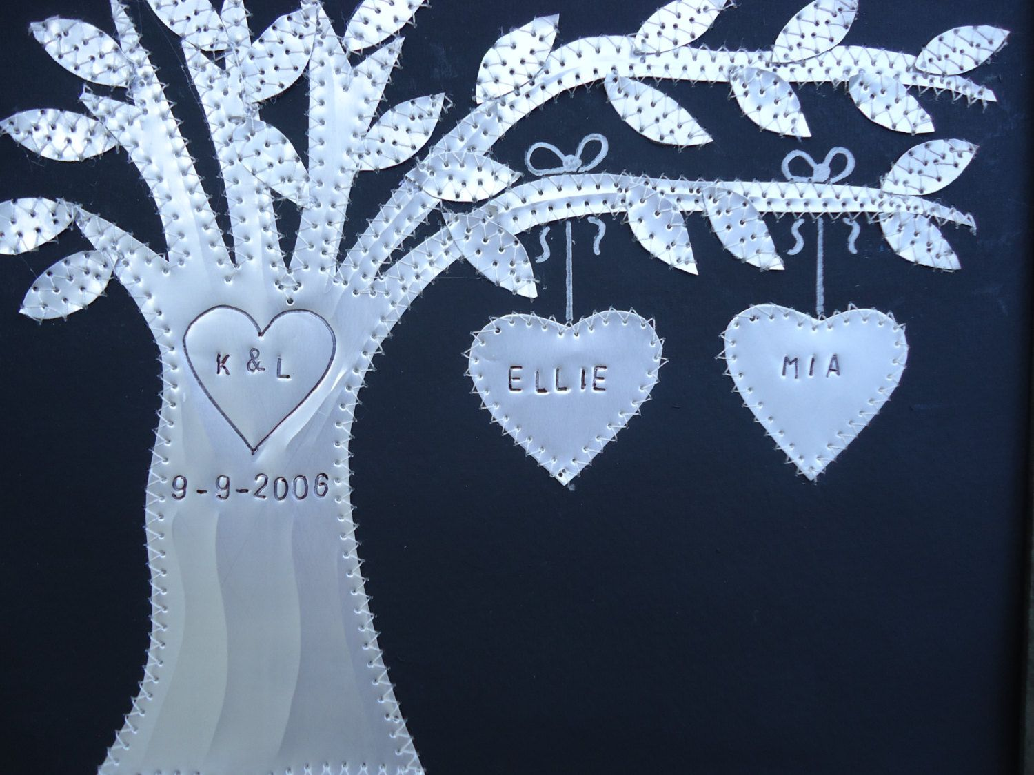 Tin anniversary gift year wedding gift hearts family tree