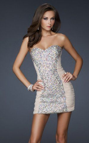 6d64bf35cefd Cheap Short Nude Sequined Strapless Tight Prom Dress