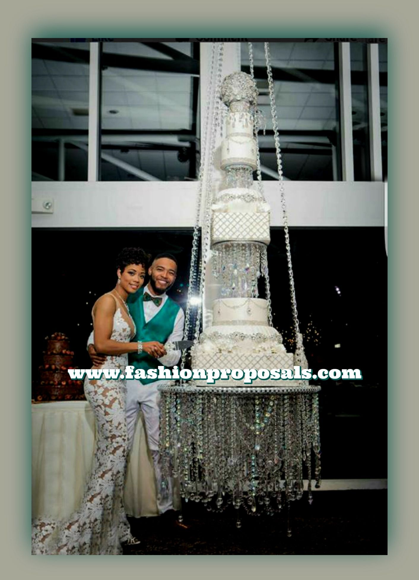 This beautiful suspended chandelier over the top cake stand, went ...
