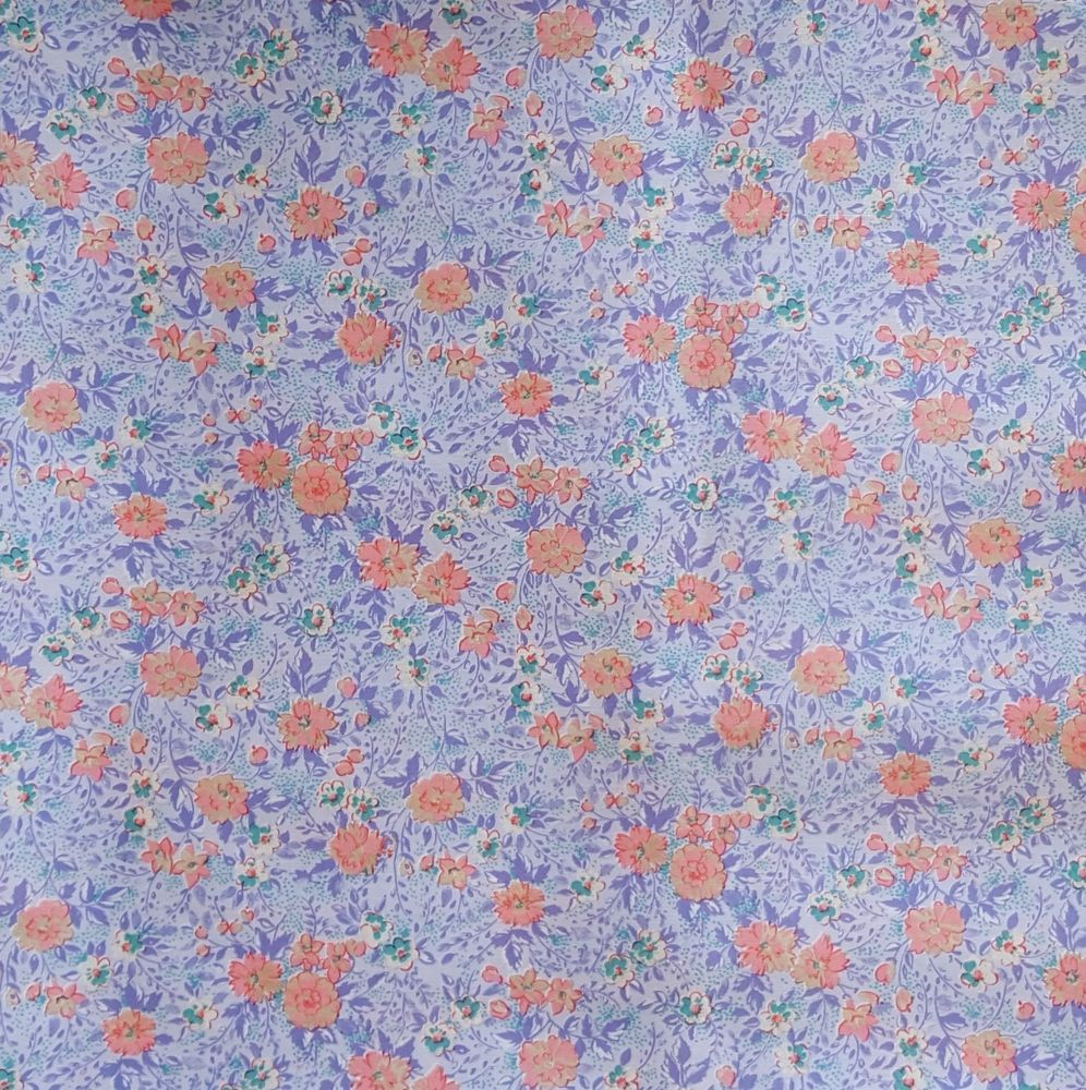 BonEful Fabric FQ Cotton Quilt VTG Blue Navy Light Leaf Flower Swirl Calico RARE