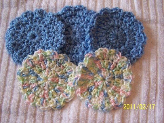 Crocheted Flower Baby Boy Scrubbiesset of 5 by kayandgirlscrafts, $2.50