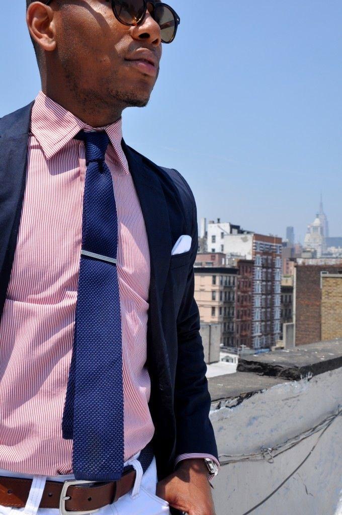 Navy sport coat, red pinstripe shirt, blue knit tie, white ...