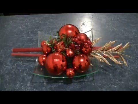 Arreglo navideño para mesa en rojo muy fácil
