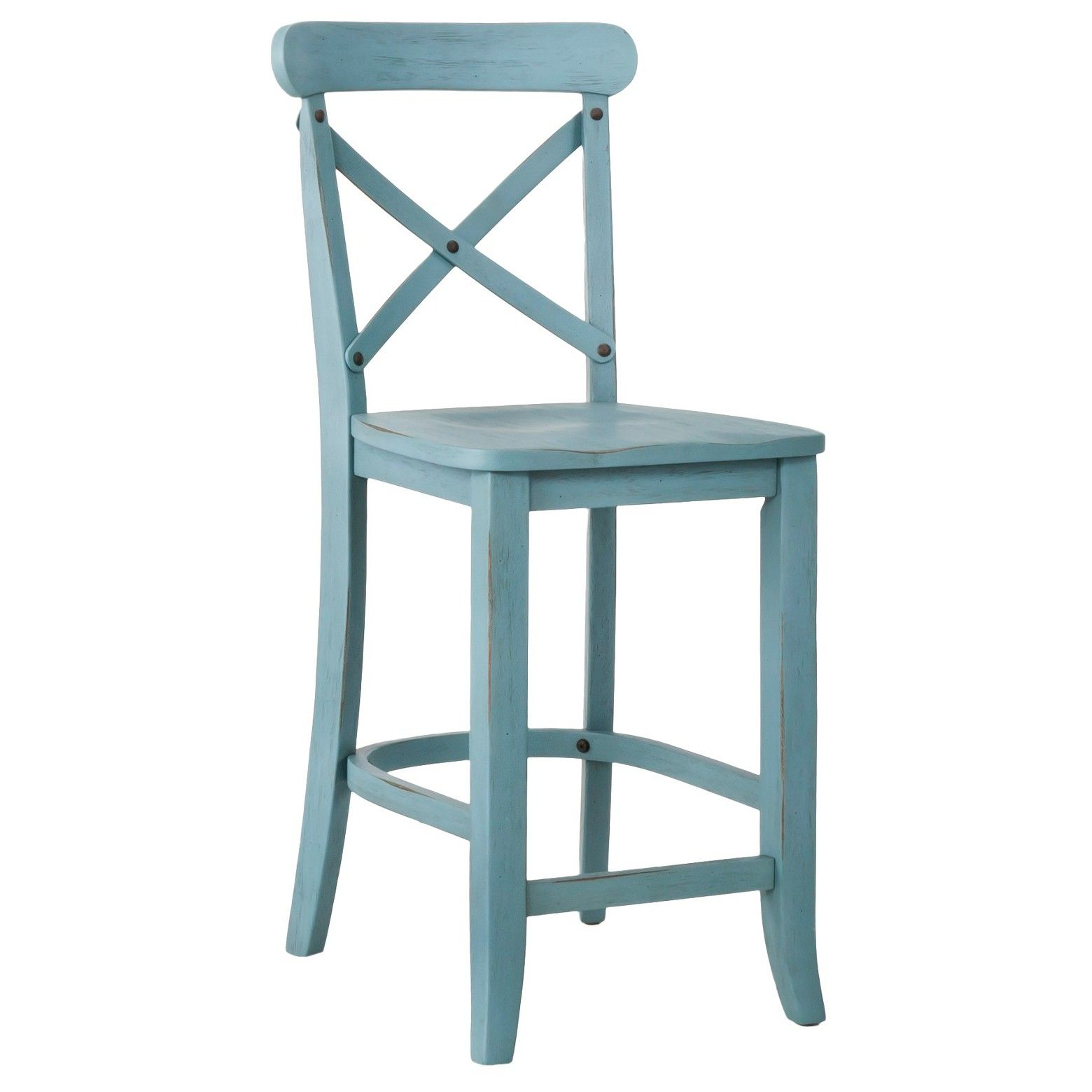 Add A Rustic Touch To Your Kitchen Or Dining Area With A French Country X Back Barstool In Blue This High Wood Chair Ha Counter Stools 24 Counter Stools Stool