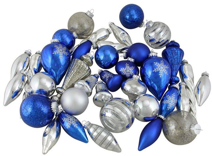 Northlight 36 Piece Blue And Silver Tone Collection Asymmetrical Christmas Ornament Set With Images Christmas Ornament Sets