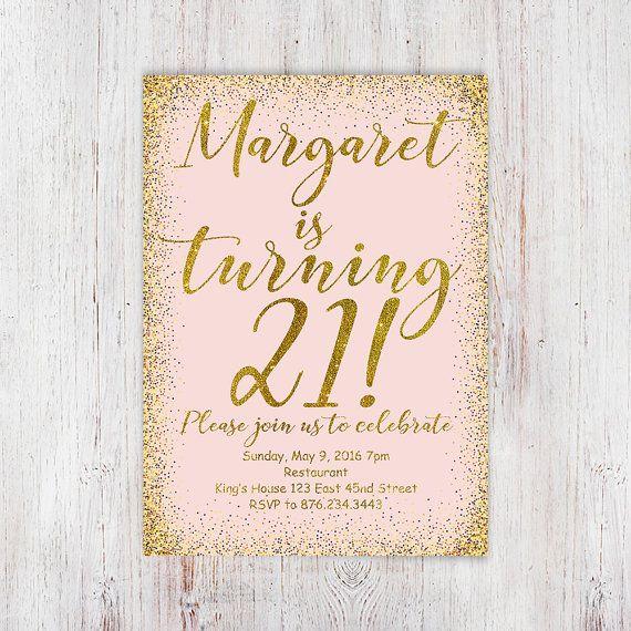 Blush Pink And Gold Glitter 21st Birthday InvitationsDigital