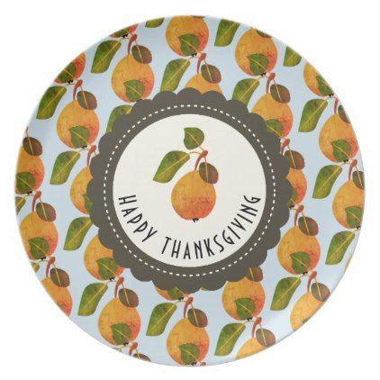 Fall Pears Fruit Thanksgiving Melamine Plate Pear fruit