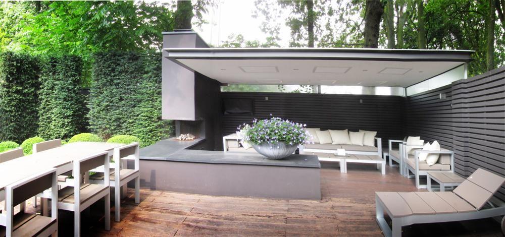 Buitenloft arend groenewegen architect overdekt terras buitenhaard tuinhuis tuin pinterest for Terras modern huis
