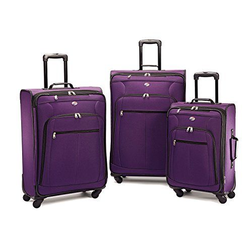 American Tourister AT Pops Plus Softside 3-Piece Spinner Wheel Luggage Set Purple